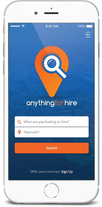 Ios App mock up of Anything for hire