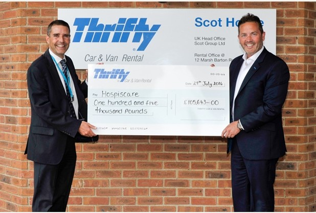 Thrifty Car and Van Rental raise £100,000 for Hospiscare